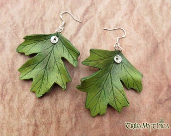 HAWTHORN Leaf Leather Earrings with silver wire hooks - Faery Nature
