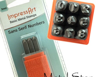 """3mm Basic Number Stamps Jewelry Making Tools set sans serif numbers by Impressart (approx. 1/8"""") perfect size number stamps"""