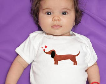 Dachshund Chasing Hearts Valentines Baby Clothes Bodysuit Romper for Baby Boy or Baby Girl, Long or Short Sleeve, 3, 6, 9, 12, 18 Months