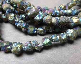 Titanium Pyrite Nugget Beads. Multi Color. Iridescent. Druzy. Gemstone Beads. 6mm-8mm. 1/4 Strand (3.25 inch)