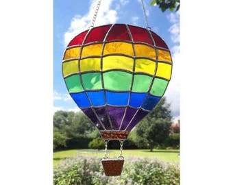 Handmade Stained glass Hot air balloon suncatcher decoration