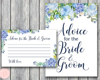Advice for the Bride and Groom Card & Sign, Printable Advice Cards, Wedding Shower, Bridal shower Game Printable, Instant Download TH84 z
