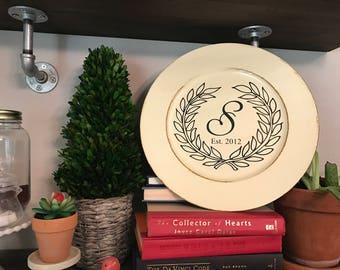 Custom monogram, GATHER, charger plate