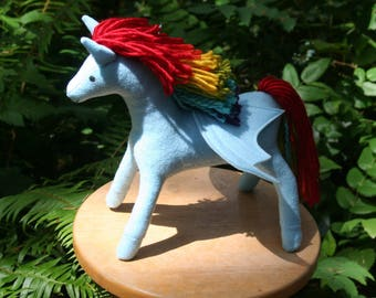 Rainbow Dash Pegasus Fantasy Plush ~ My Little Pony, Blue, Rainbow, Flying Pony, Handcrafted, Stuffed Pegasus Toy, Pegasus Plushy, Horses