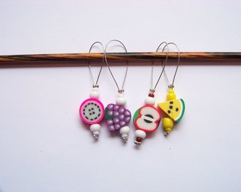 Fun Fruit Stitch Markers - set of 4 - knit knitting fruit charms, food stitch markers polymer clay