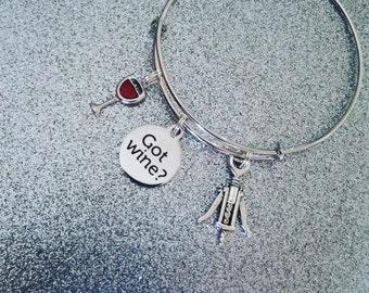 Wine charm bracelet,expandable bracelet, wine jewerly,wine gift,Bangle bracelets,charm bracelets, stainless steel bracelets,wine gifts