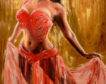 Original Oil Painting Flamenco Dancer In Red - Large Size - Belly Dance - Woman Dancing Red Hot - Contemporary Modern Art - Made To Order