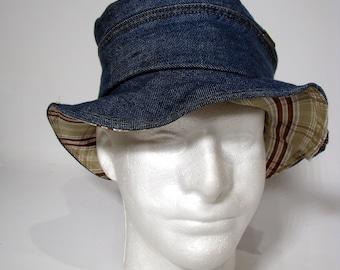 Hat, Summer hat, Floppy Hat, Unisex hat, big hat, Denim hat, Sun hat Reversible hat over-sized hat Upcycled Hat OOAK Woman's Hat Man's hat