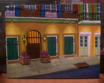 New Orleans Art // French Quarter After Dark // Empty Street at Night // Original Painting by Artist // Ready to Hang