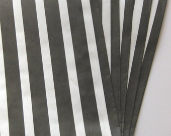 """SALE - Set of 10 Black and White Vertical Stripe Design Middy Bitty Bags (5"""" x 7.5"""")"""