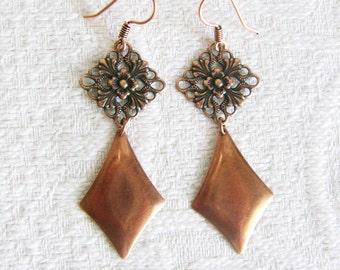 Long Copper Filigree Pierced Earrings with Diamond Shape