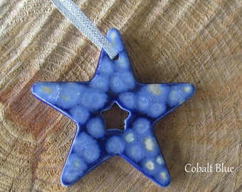 Handmade Pottery Ornament Star with cut-out