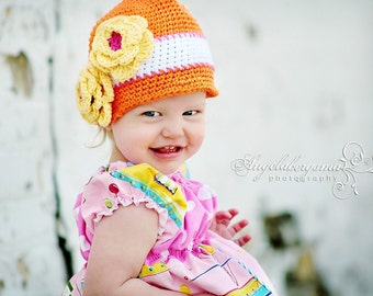RTS size 6-12 Month Crocheted Cloche Hat The Taneal Orange, White, Yellow Flowers Bucket Hat