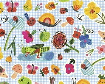 ORGANIC Cotton Picnic on Blue Gingham Windham Fabrics BFFS Collection Carolyn Gavin Baby Quilt Snails Butterflies Flowers Ladybugs Hedgehogs