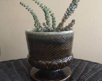 Green textured ceramic pedestal planter