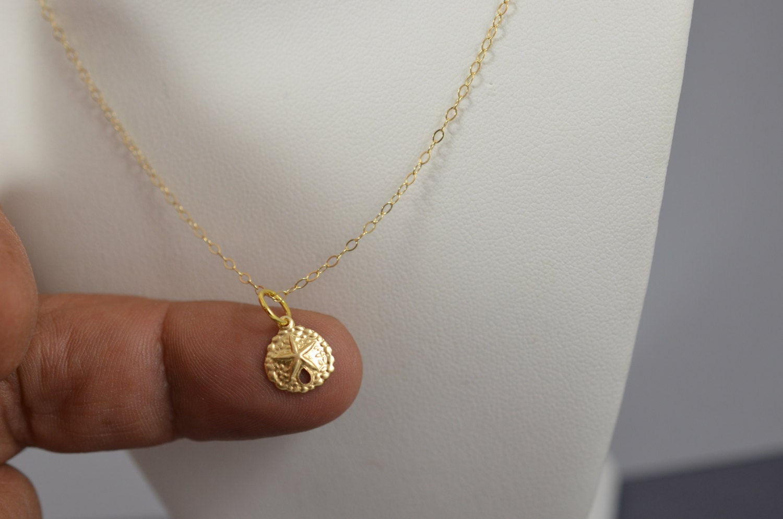Gold filled Sand dollar Necklace minimalist nautical
