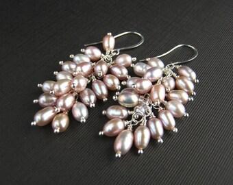 Mauve Freshwater Pearl Cluster Earrings Mauve Pearl Bridal Earrings Pearl Cluster Wedding Earrings