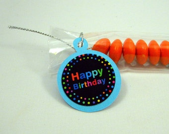 Birthday Party Favor, Candy Treat Bags - Set of 12, Rainbow Blue