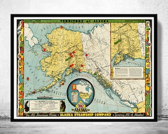 Old Map of Alaska Territory North America 1936