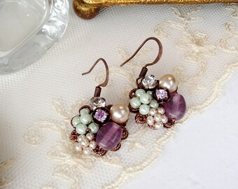 Multicolor Dangle Earrings. Vintage Style Cluster Earrings with Purple, Green and Pearl. Romantic Vintage Style Pastel Color Jewelry. Gifts