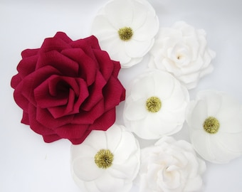 7 Large Paper Flowers/Large Paper Roses/Wedding Decoration/Arch Flowers/ Table Flower Decoration/ Red and White Flowers