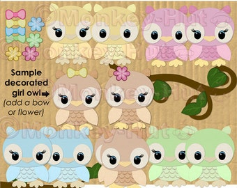 Owl Clip Art Cutie Owl Couple clip art set (personal use) INSTANT DOWNLOAD