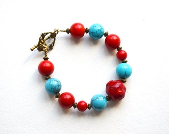 Simple Turquoise Red Bracelet Chunky Stones Bracelet Stone Beads Bracelet Boho Bracelet Tribal Bracelet Turquoise Coral Bracelet Taitallas