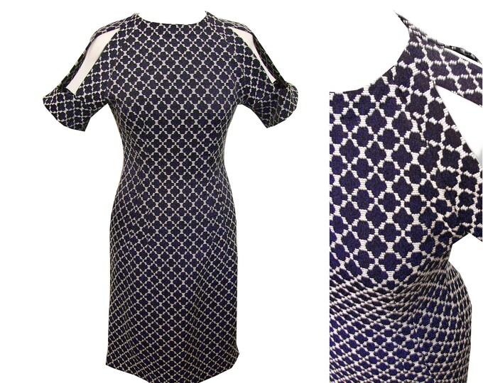 Unique shiftdress samplesale size DE36/small blue white cut out sleeve