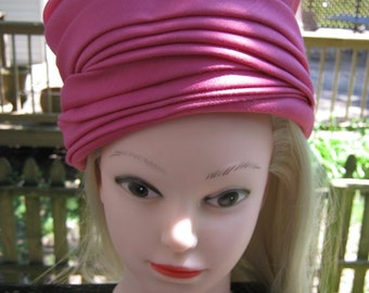 Ladies Ruched Hat, Bright PInk, High Pill Box Style, Vintage Ladies Formal Hat, Summer Hat