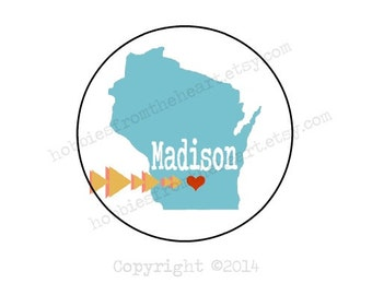 Madison Love - MKE Envelope seals- Stickers - 16 white round labels/seals 1.2""