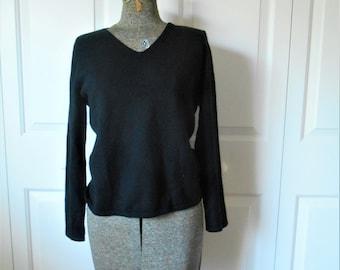 Vintage black Cashmere V neck pullover Sweater