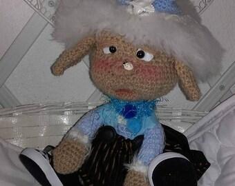 Blue Pixie hat, crochet.