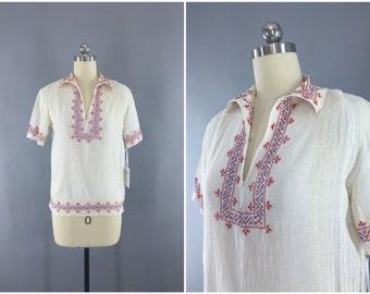 Vintage 1920s Peasant Blouse / 20s Hungarian Embroidered Blouse / Bohemian Tunic / Boho Cotton Gauze /