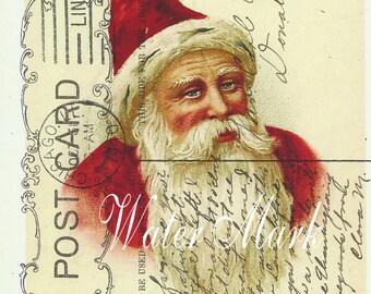 POSTCARDS*Santa Claus on green postcard collarge*Great one*12 cards.Envelopes*Beautiful*Original image