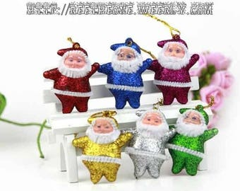 Lot of 6 Decorations Christmas ornaments for Christmas tree - Assortment of 6 glitter Santa Claus