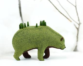 Summer Woods Bear / Soft Sculpture Bear / Forest Spirit / Grizzly Bear Art / Fantasy Creature / Enchanted Woods