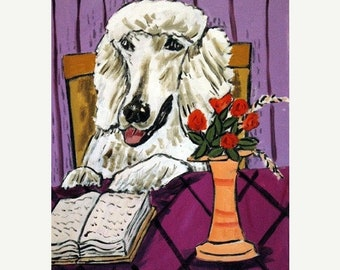 25% off Poodle Reading Dog Art Print