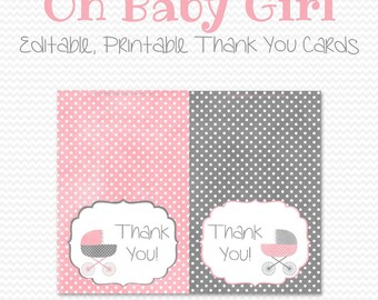 Baby Carriage Thank You Cards, Thank You Note, Pink and Grey Note Cards, Baby Shower Notecards -- Editable, Printable, Instant Download