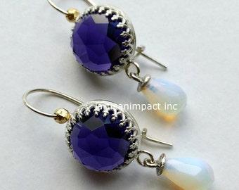 Sterling silver earrings, amethyst earrings, opalite earrings, chandelier earrings, long earrings, dangle earrings - Going somewhere . E8004