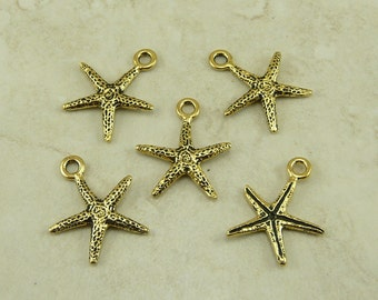 5 TierraCast Star Fish Seastar Sea Star Charms > Ocean Beach Summer - 22kt Gold Plated LEAD FREE Pewter - I ship internationally 2232