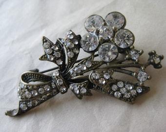 Flower Bow Brass Rhinestone Brooch Clear Vintage Pin