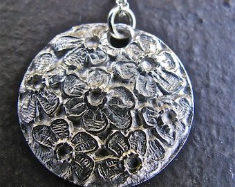 Flowers Galore Pendant Handmade of FIne Silver and Strung on Sterling Silver