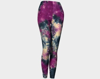 Tie Dye Leggings-Women's Leggings-Capri Leggings-Colorful Purple Plum Indigo Blue Leggings-xs, s, m, l, xl