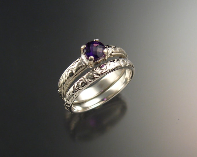 Amethyst Wedding ring set 14k White Gold made to order in your size