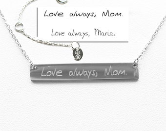 Custom handwriting,Handwriting jewelry,Handwriting Bar Necklace,Actual Signature Jewelry,Silver Bar Necklace,Memorial Gift-Mother's   gift