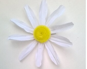 White Silk Daisy Hair Clip  - Handcrafted Daisy Flower in White or Lavender - Bridal, Bridesmaid, Wedding, Prom Hair Accessory or Brooch