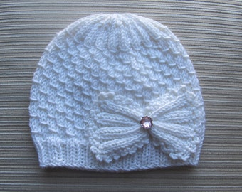 Knitting Pattern #98 Small Drops Stitch Hat for a Girl 12-18 months, 3-6 years