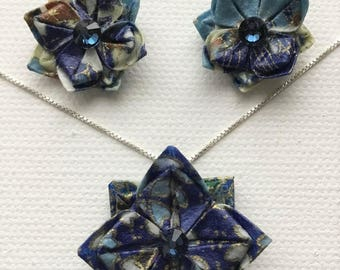 Wearable Origami Flower Set, Matching Earrings and Necklace, Blue Swarovsky Crystal
