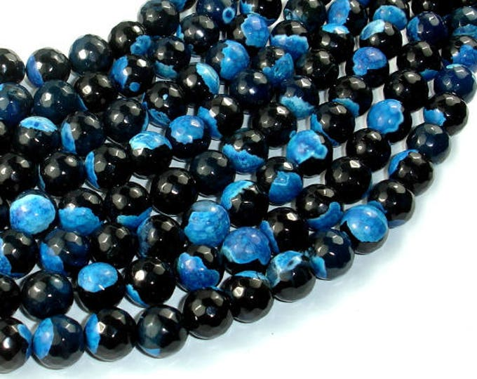 Agate Beads, Blue & Black, 10mm Faceted Round Beads, 15 Inch, Full strand, Approx 37 beads, Hole 1mm (122025301)