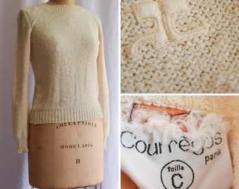 1960s Sweater | Courrèges | Vintage 60s Pullover Ivory Slub Knit Sweater Ribbed Crew Neck MOD Style Vintage Designer Made In France Size S/M